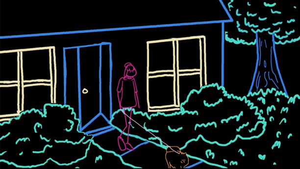 Animation still, a woman walking her dog