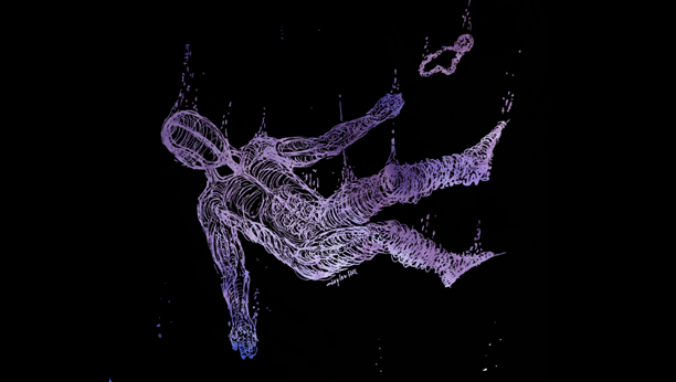 Abstract image of a man falling down